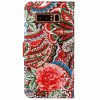 Wkae Abstract Flower PU Leather Case Cover for Samsung Galaxy Note 8 - RED