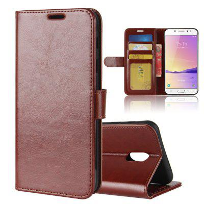 Durable Crazy Horse Pattern Back Buckle Flip PU Leather Wallet Case for Samsung Galaxy C7 2017
