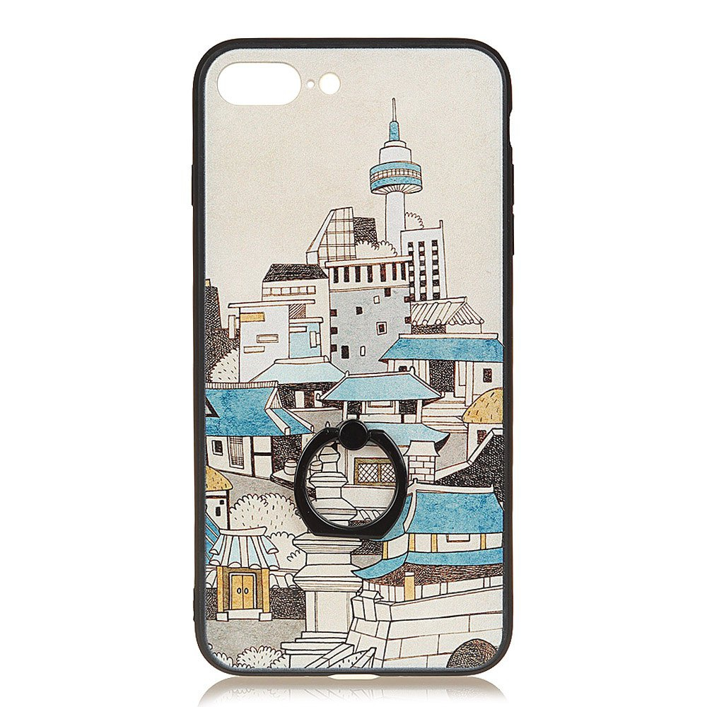 KaZiNe Azine Embossment Tpu + Pc Finger Ring Kickstand Cell Phone Case House for  iPhone 7Plus/8Plus
