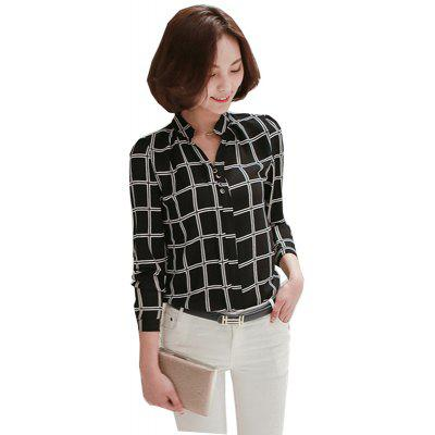 New Long Sleeves Collar Printed Shirt
