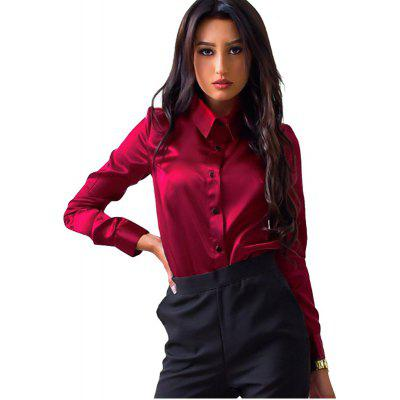 Buy BURGUNDY M Women's Solid Color Lapel Long Sleeve Shirt for $16.81 in GearBest store