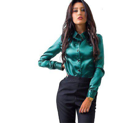 Buy GREEN L Women's Solid Color Lapel Long Sleeve Shirt for $16.81 in GearBest store