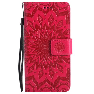 Sun Flower Printing Design Pu Leather Flip Wallet Lanyard Protective Case for Sony Xperia X