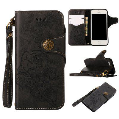 Retro Rose PU Leather Magnetic Closure Flip Wallet Protective Case with Lanyard for iPhone SE/5S/5