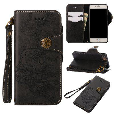 Retro Rose PU Leather Magnetic Closure Flip Wallet Protective Case with Lanyard for iPhone 7/8