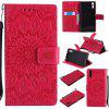 Sun Flower Printing Design Pu Leather Flip Wallet Lanyard Protective Case for Sony Xperia XZ - RED