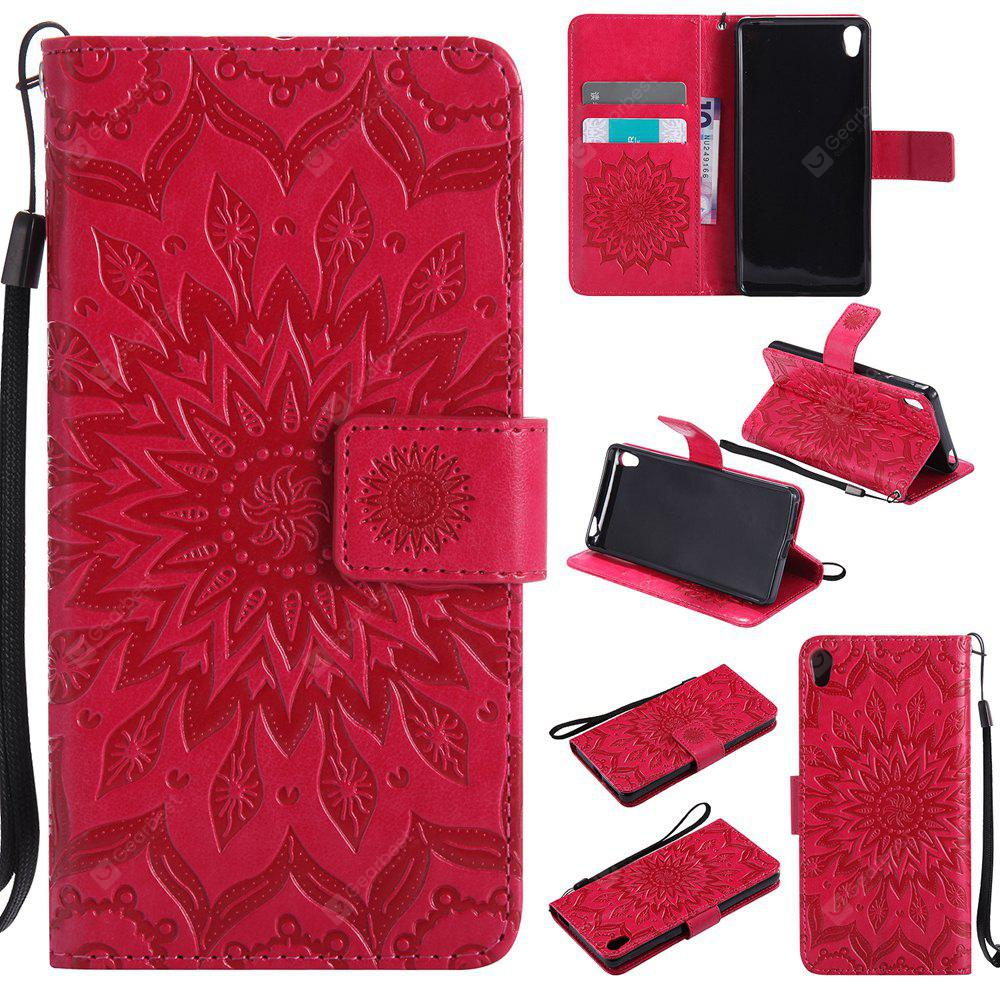 Sun Flower Printing Design Pu Leather Flip Wallet Lanyard Protective Case for Sony Xperia E5