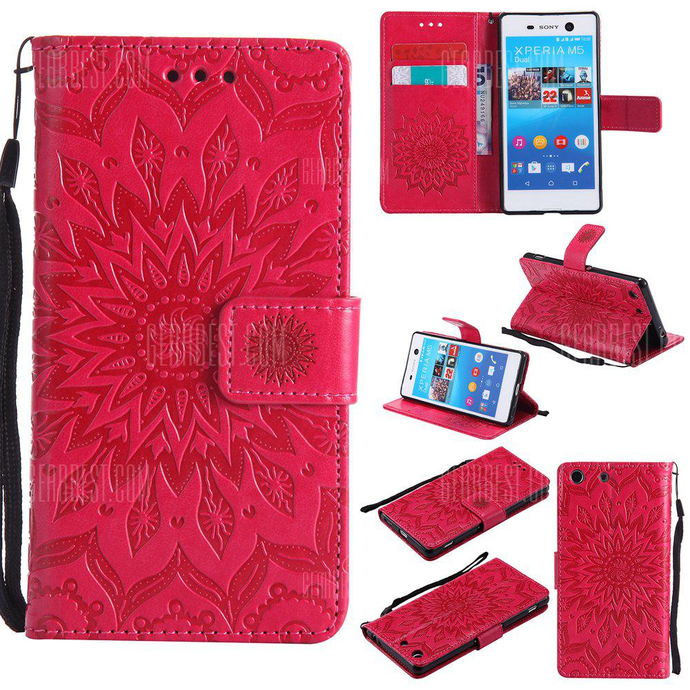 Sun Flower Printing Design Pu Leather Flip Wallet Lanyard Protective Case for Sony Xperia M5