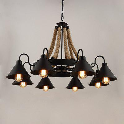 Buy BLACK American Hemp Rope Wrought Iron Hanging Retro Industry Pendant Light E27 for $192.85 in GearBest store