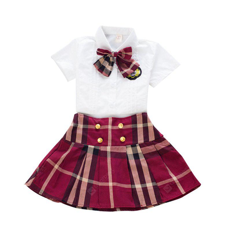 Childrens Day Costumes Girls Summer Blouse with Bowknot Plaid Skirt Suit Uniforms