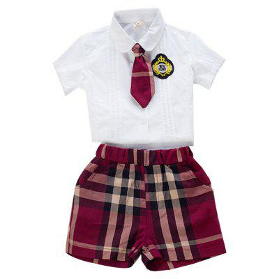 Kindergarten Class Service Uniforms Children Summer Cotton Shirt and Plaid Shorts Suit