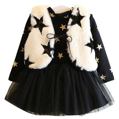 Winter Fashion Children'S Clothing Plus Cashmere Thickening Mesh Dress with Five Pointed Star Rabbit Fluffy Vest Baby