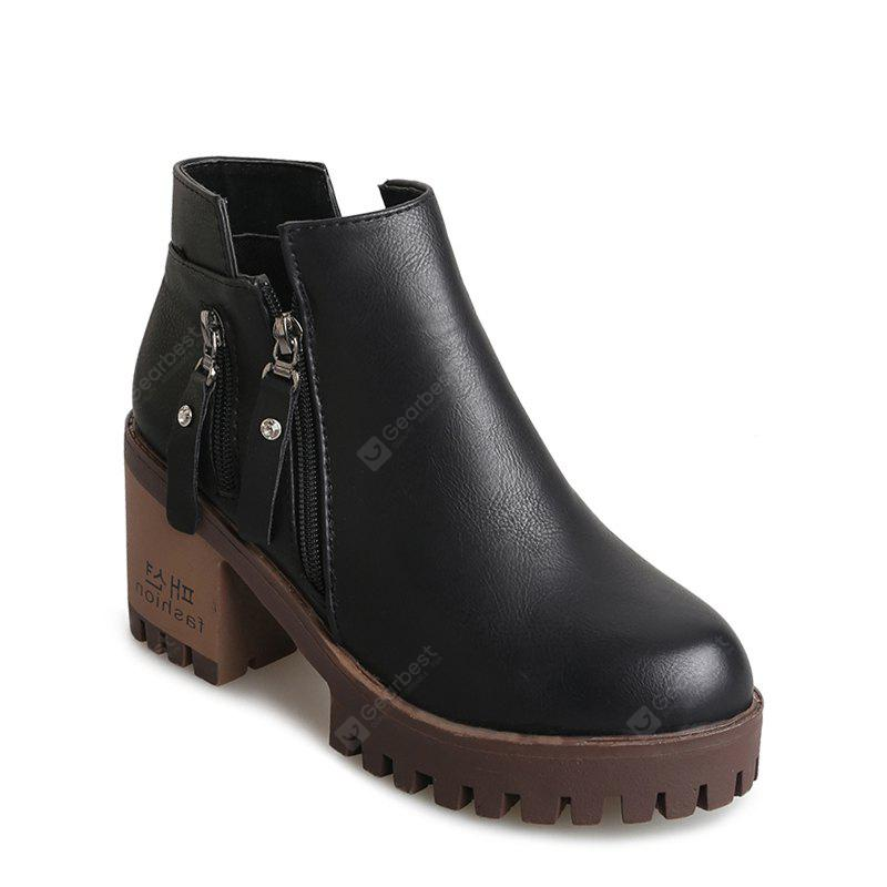 Winter and New Style Rough Heel Round Head Martin Short Boots