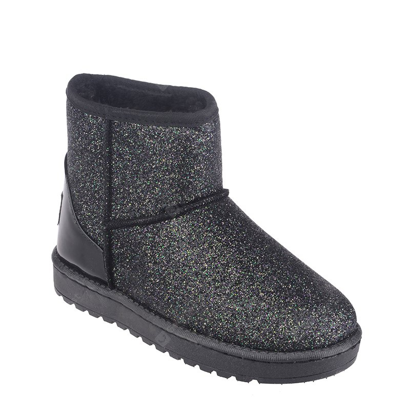 New Fashion Sequins Low Cylinder Shoes Thickened In Winter Snow Boots Women