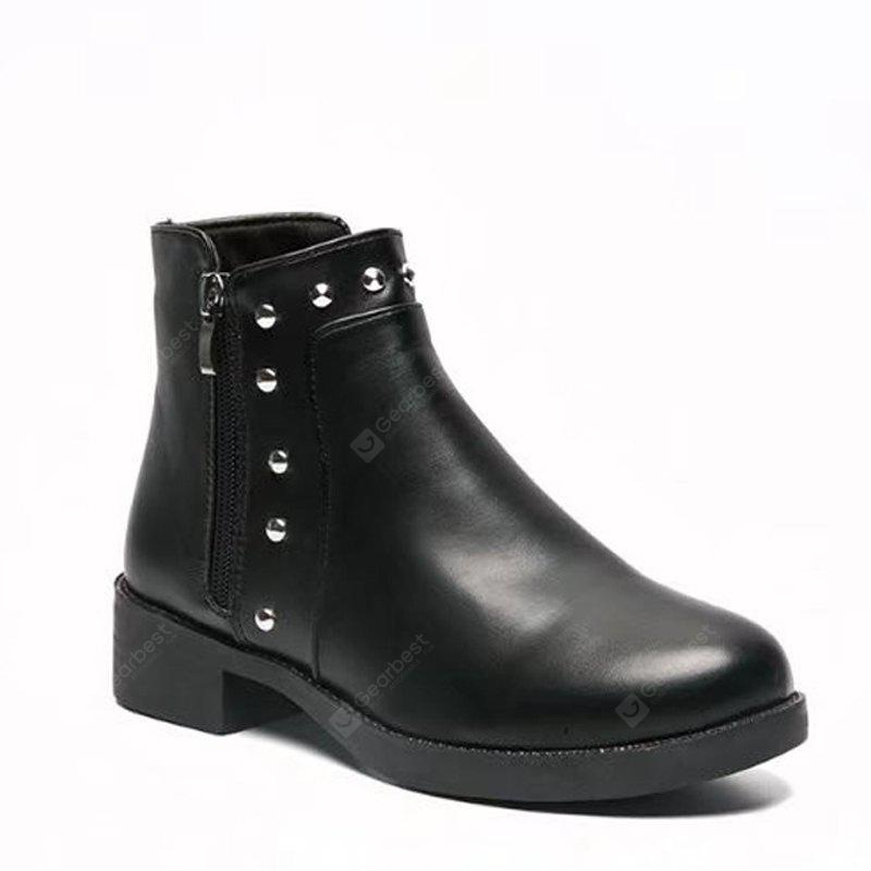 Winter Korean Version Rough Heel Martin Flat Chelsea Short Boots Female