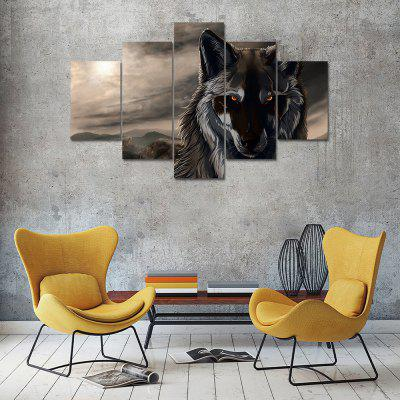 Animal Wolf B Canvas Print Painting Home Decoration Wall Art Picture 5 Panel
