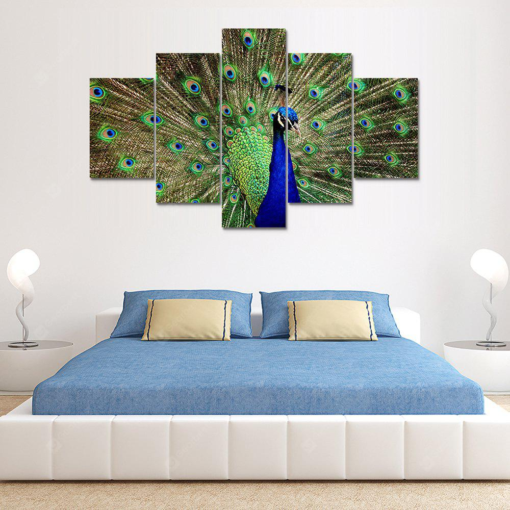 Green Peacock Canvas Print Painting Home Decoration Wall Art Picture 5 Panel