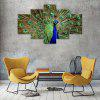Green Peacock Canvas Print Painting Home Decoration Wall Art Picture 5 Panel - COLORMIX