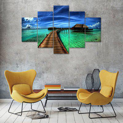 House at Sea Canvas Print Painting Home Decoration Wall Art Picture 5 Panel
