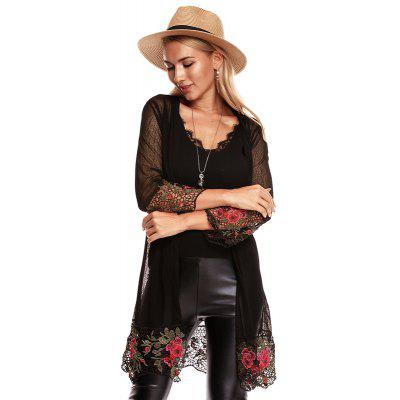 Autumn Embroidered Lace Thin Knit Cardigan