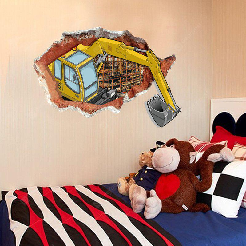 DSU Abstract Amazing 3D Effect Excavator Wall Stickers Creative Home DIY  Decor Painting Child Adult