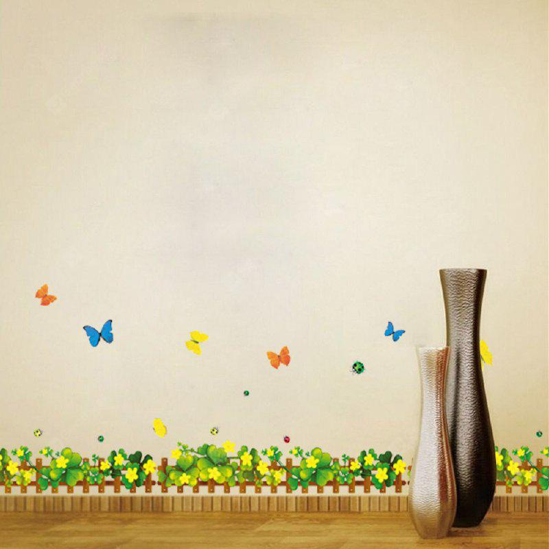 DSU Flowers Butterfly Green Grass Baseboard Skirting Line PVC Wall Stickers Removable Home Decoration