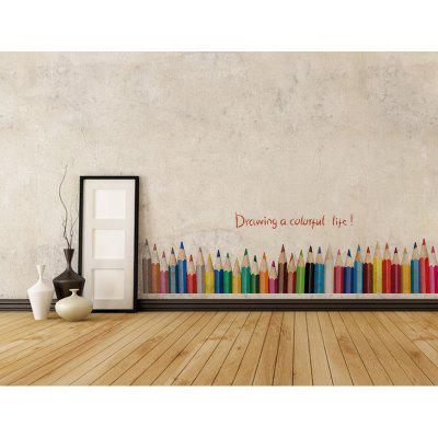 DSU 3D DIY Creative Colored Pencil Drawing Skirting Window Home Decor Living Room Baseboard Wall Stickers