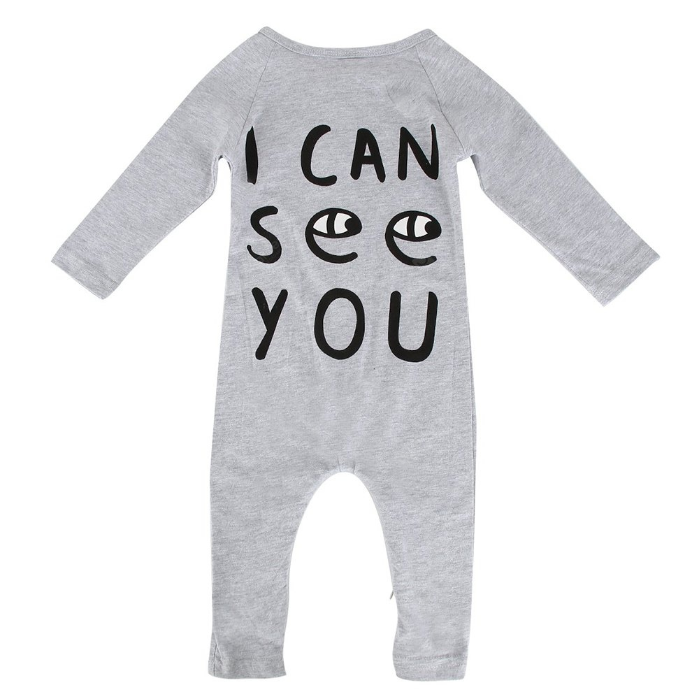 Spring Autumn Long Sleeves Baby Rompers Gray Letter Printing Baby Clothes for 0-24 Month