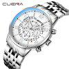 CUENA 6806G Men Fashion Steel Band Quartz Watch - SILVER AND WHITE