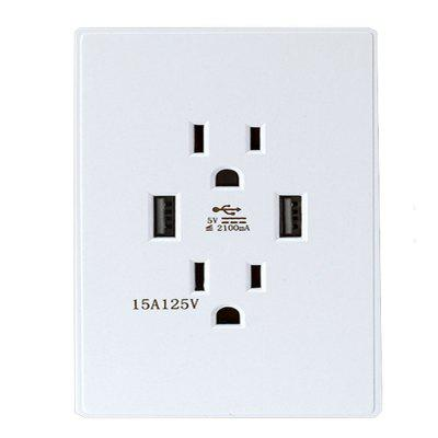 Dual USB Desktop Socket Power Switch Socket Two Three-Hole Wall Socket 15A 125VAC 60HZ