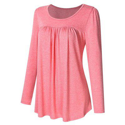 Scoop Neck Pleated Tunic Women Long Sleeve  Casual Plus Size Pleated Tunic ShirtTees<br>Scoop Neck Pleated Tunic Women Long Sleeve  Casual Plus Size Pleated Tunic Shirt<br><br>Collar: Round Neck<br>Elasticity: Elastic<br>Fabric Type: Jersey<br>Material: Cotton, Spandex, Polyester<br>Package Contents: 1xT-shirt<br>Pattern Type: Solid<br>Shirt Length: Regular<br>Sleeve Length: Full<br>Style: Casual<br>Weight: 0.3800kg