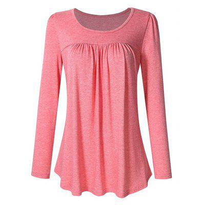 Scoop Neck Pleated Tunic Women Long Sleeve  Casual Plus Size Pleated Tunic Shirt