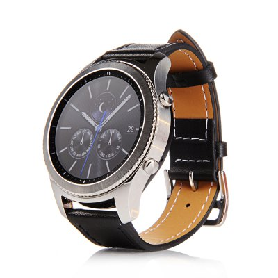 Buy Genuine Leather Wrist Strap for Samsung Gear S3 Frontier Silicone Watch Band Classic Bracelet Band 22MM BLACK for $8.05 in GearBest store