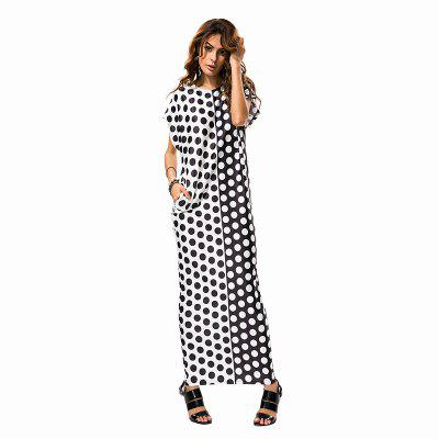 Wave Point Loose DressMaxi Dresses<br>Wave Point Loose Dress<br><br>Dresses Length: Ankle-Length<br>Elasticity: Elastic<br>Fabric Type: Broadcloth<br>Material: Polyester<br>Neckline: Round Collar<br>Package Contents: 1 x Dress<br>Pattern Type: Polka Dot<br>Season: Summer<br>Silhouette: Straight<br>Sleeve Length: Short Sleeves<br>Style: Bohemian<br>Waist: Natural<br>Weight: 0.3000kg<br>With Belt: No