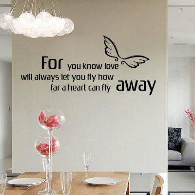 DSU Heart Fly Away English Quote Simple Art Wall StickerWall Stickers<br>DSU Heart Fly Away English Quote Simple Art Wall Sticker<br><br>Art Style: Plane Wall Stickers<br>Brand: DSU<br>Color Scheme: Black<br>Function: Decorative Wall Sticker<br>Material: Vinyl(PVC)<br>Package Contents: 1 x Wall Sticker<br>Package size (L x W x H): 36.00 x 5.00 x 5.00 cm / 14.17 x 1.97 x 1.97 inches<br>Package weight: 0.1100 kg<br>Product size (L x W x H): 77.00 x 33.50 x 5.00 cm / 30.31 x 13.19 x 1.97 inches<br>Product weight: 0.0600 kg<br>Quantity: 1<br>Sizes: Others<br>Subjects: Fashion,Letter,Romance,Words / Quotes<br>Suitable Space: Bedroom,Cafes,Dining Room,Game Room,Hotel,Kids Room,Living Room,Office,Study Room / Office<br>Type: Plane Wall Sticker