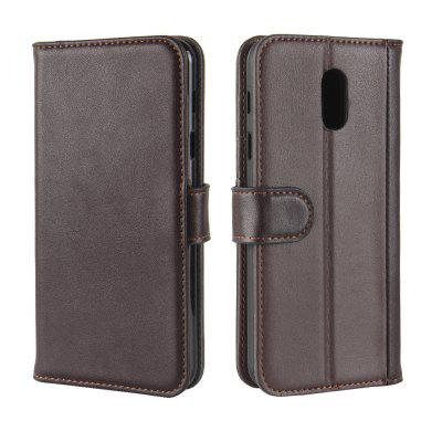 Solid Color Real Cow Leather Wallet Style Front Buckle Flip Case with Card Slots for Samsung Galaxy C7 2017
