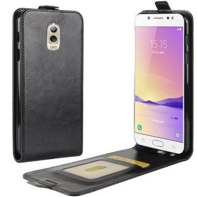 Buy BLACK Durable Crazy Horse Pattern Up and Down Style Flip Buckle PU Leather Case for Samsung Galaxy J7 Plus for $4.39 in GearBest store