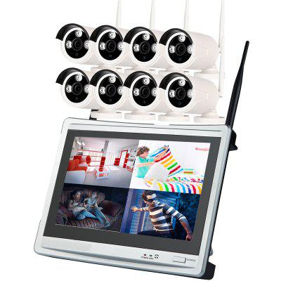 8 Channel 960P Wireless Nvr Kit 12.5 Inch Lcd Wifi Nvr 8 x 1.3MP Wifi Ip Camera with Night Vision
