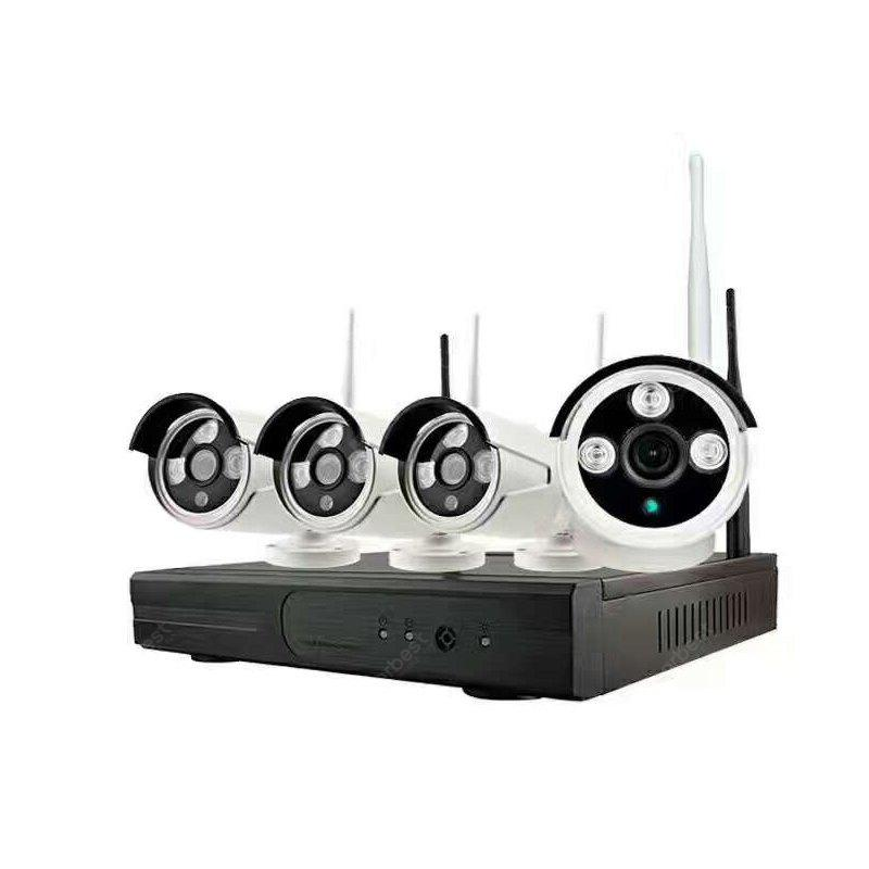 4 Channel 720P Wireless Security Camera System 1 × Wifi Nvr 4 × 1.0MP Wifi Ip Camera with Night Vision.