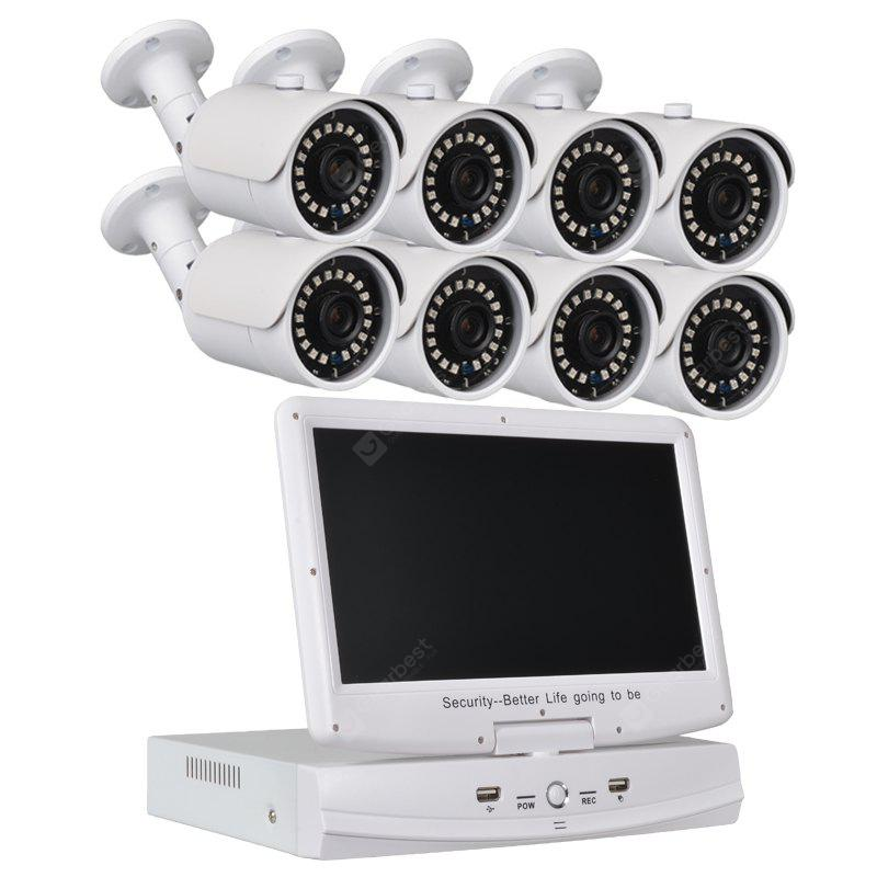 8 Channel Security Camera System 10.1 Inch Lcd 1080N Ahd Dvr 8 × 1.0MP Weatherproof Cameras with Night Vision