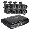 8 Channel Security Camera System 10.1 Inch Lcd 1080N Ahd Dvr 8 × 1.0MP Weatherproof Camera with Night Vision - BLACK