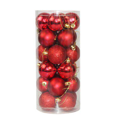 WS 24PCS/PACK Hot Christmas Tree Ornaments Multi-color Ball 6CM Plastic Gift for Xmas Holiday Decoration