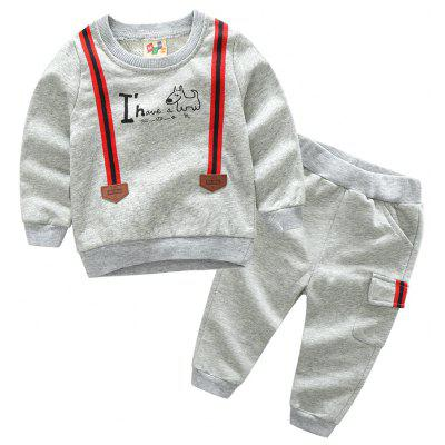 Korean Boys Baby Suit with Children Sports Pants and Long Sleeved Sweater