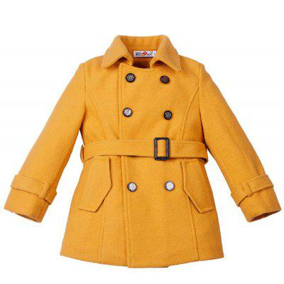 Boy Fashion Coat with Button and Waistband
