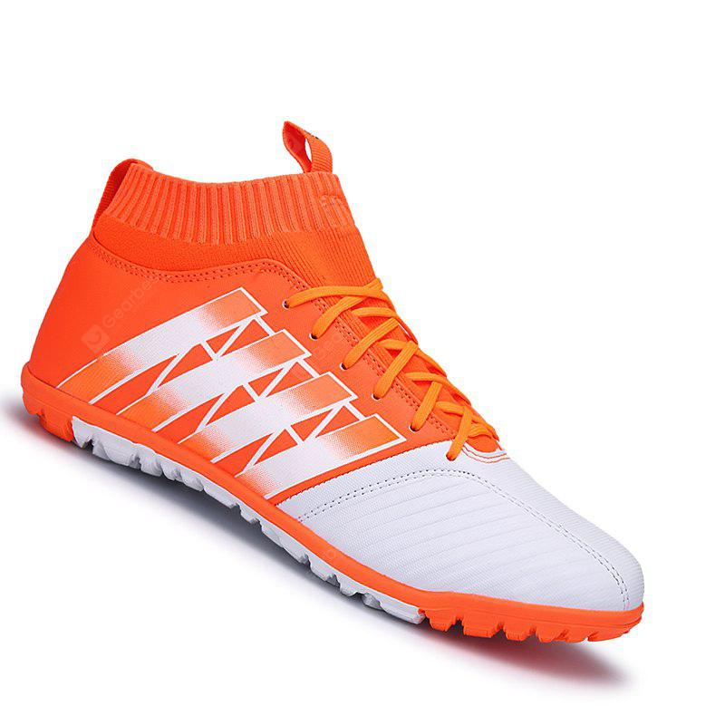 ORANGE 44 Men Football Running Lace Up Sport Outdoor Soccer Colorful Multicolor Athletic Shoes 39-44