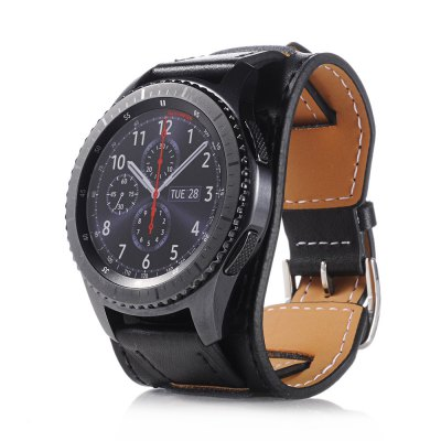 Genuine Leather Watch Band Cuff Bracelet Watch for Samsung Gear S3 Frontier  22MM