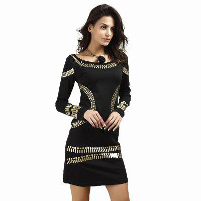 Tight Round Collar Bronzing Long-Sleeved DressBodycon Dresses<br>Tight Round Collar Bronzing Long-Sleeved Dress<br><br>Dresses Length: Knee-Length<br>Elasticity: Elastic<br>Fabric Type: Broadcloth<br>Material: Polyester<br>Neckline: Round Collar<br>Package Contents: 1 x Dress<br>Pattern Type: Others<br>Season: Fall<br>Silhouette: Straight<br>Sleeve Length: Long Sleeves<br>Style: Fashion<br>Waist: Natural<br>Weight: 0.3000kg<br>With Belt: No