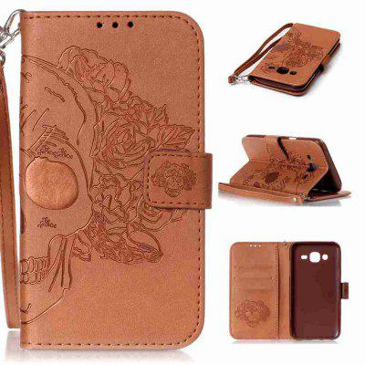 Double Embossed Skull Head PU Phone Case for Samsung Galaxy   J5