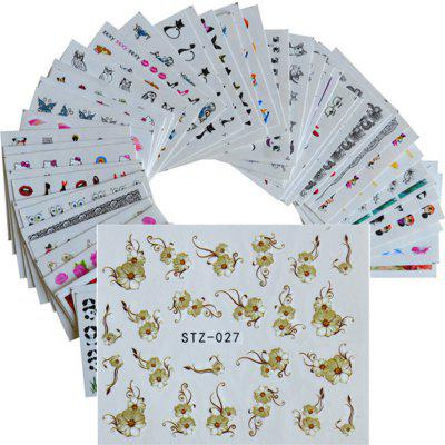 50PCS Different Styles Fashion Flowers Pattern Nail Water Transfer Stickers