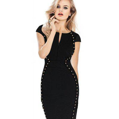 Ladies Fashion Rivet V-Neck Fashion Party DressWomens Dresses<br>Ladies Fashion Rivet V-Neck Fashion Party Dress<br><br>Dresses Length: Knee-Length<br>Elasticity: Micro-elastic<br>Fabric Type: Broadcloth<br>Material: Cotton Blend<br>Neckline: V-Neck<br>Package Contents: 1xDress<br>Pattern Type: Solid<br>Season: Summer<br>Silhouette: Straight<br>Sleeve Length: Short Sleeves<br>Style: Fashion<br>Weight: 0.2000kg<br>With Belt: No